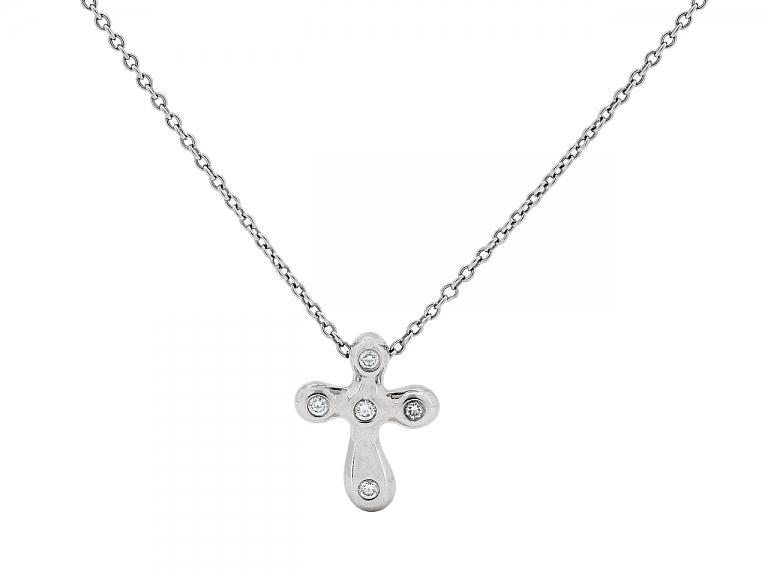 Video of Tiffany & Co. Elsa Peretti Diamond Cross Pendant in Platinum