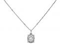 Diamond Halo Pendant Necklace in Platinum
