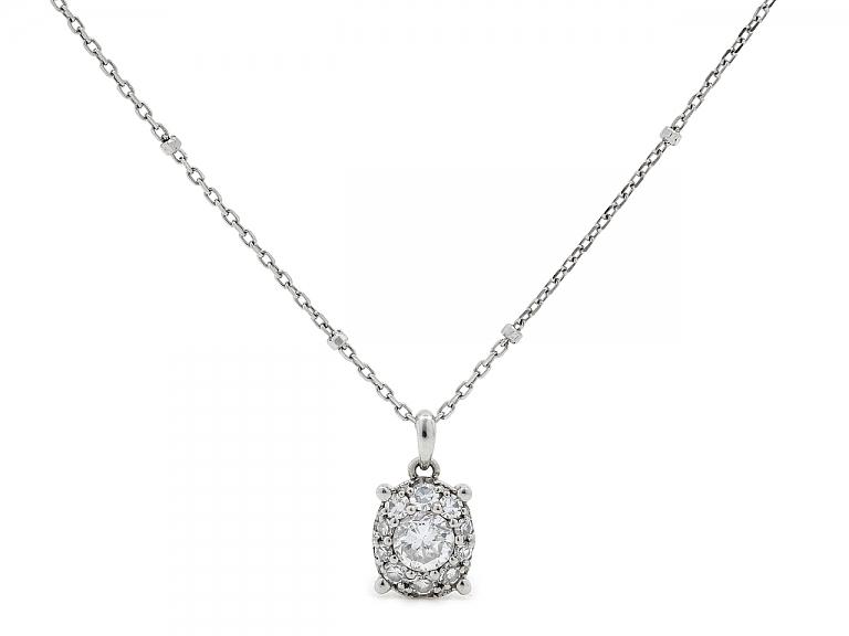 Video of Diamond Halo Pendant Necklace in Platinum