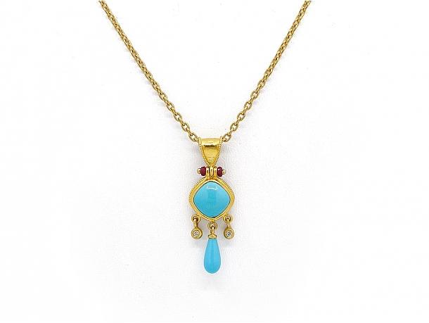 ARA Turquoise Pendant in 23K Gold