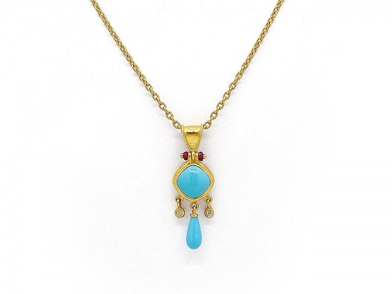 Video of ARA Turquoise Pendant in 23K Gold