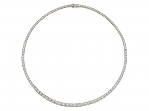 Waslikoff Art Deco Diamond Rivière Necklace in Platinum