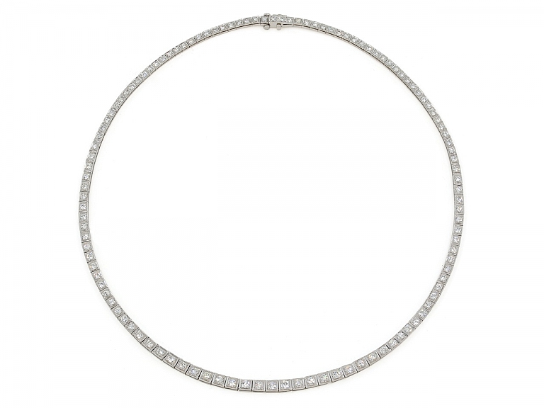 Video of Waslikoff Art Deco Diamond Rivière Necklace in Platinum
