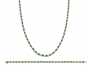 Emerald and Diamond Necklace and Bracelet in 18K Gold, by Black Starr & Frost