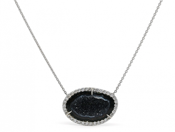 Kimberly McDonald Geode and Diamond Pendant Necklace in 18K White Gold