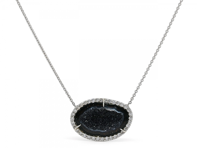 Video of Kimberly McDonald Geode and Diamond Pendant Necklace in 18K White Gold