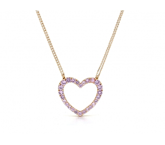 Pink Sapphire Heart Necklace in 18K Rose Gold