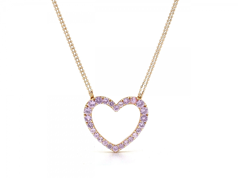 Video of Pink Sapphire Heart Necklace in 18K Rose Gold
