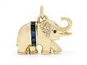 Sapphire and Diamond Elephant Pendant in 18K Gold
