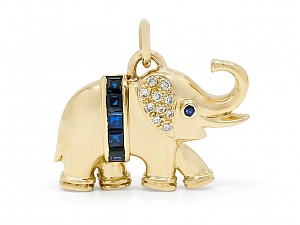 Sapphire and Diamond Elephant Pendant in 18K Gold