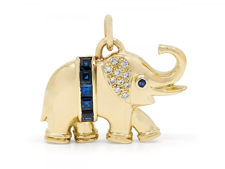 Video of Sapphire and Diamond Elephant Pendant in 18K Gold