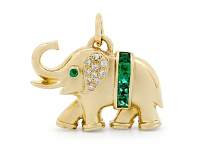 Emerald and Diamond Elephant Pendant in 18K Gold