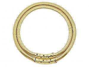 Cartier Retro Tubogas Diamond and Sapphire Choker in 18K Gold