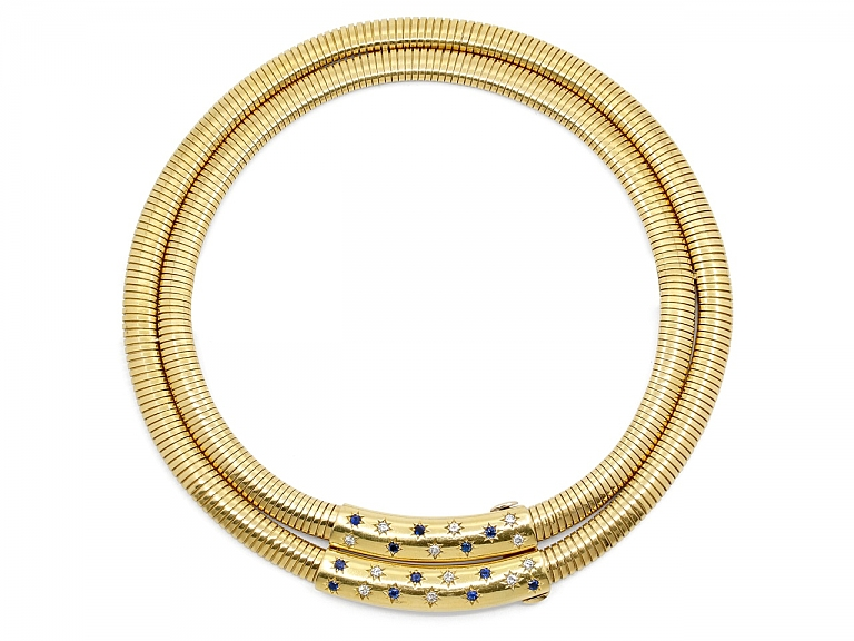 Video of Cartier Retro Tubogas Diamond and Sapphire Choker in 18K Gold