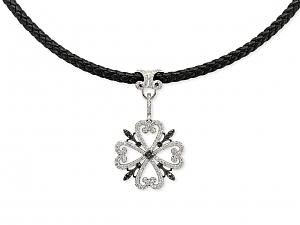 Rhonda Faber Green Diamond Clover Pendant in 18K White Gold
