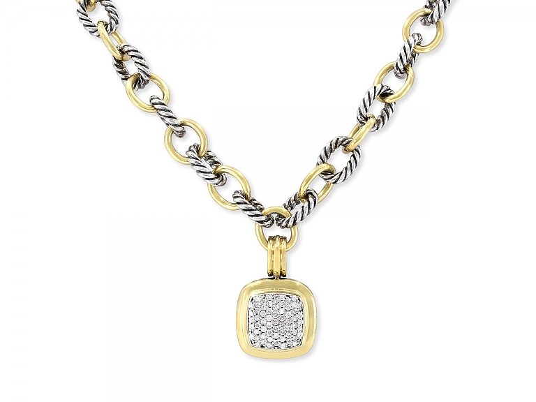 Video of David Yurman Albion Pendant and Oval Link Necklace in 18K Gold and Silver