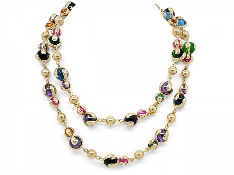 Video of Marina B 'Cardan' Gemstone Necklace in 18K Gold