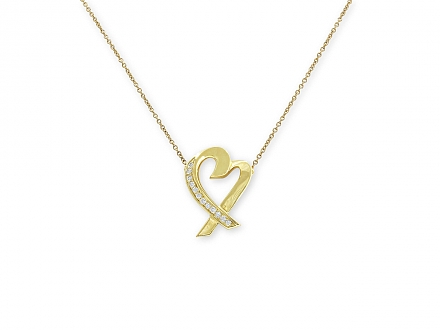 Tiffany & Co. Palomo Picasso 'Loving Heart' Diamond Necklace in 18K Gold