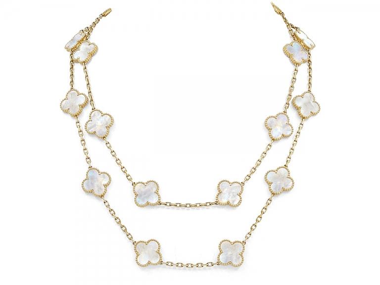 Video of Van Cleef & Arpels 'Vintage Alhambra' Mother-of-Pearl Necklace, 20 Motif, in 18K Gold