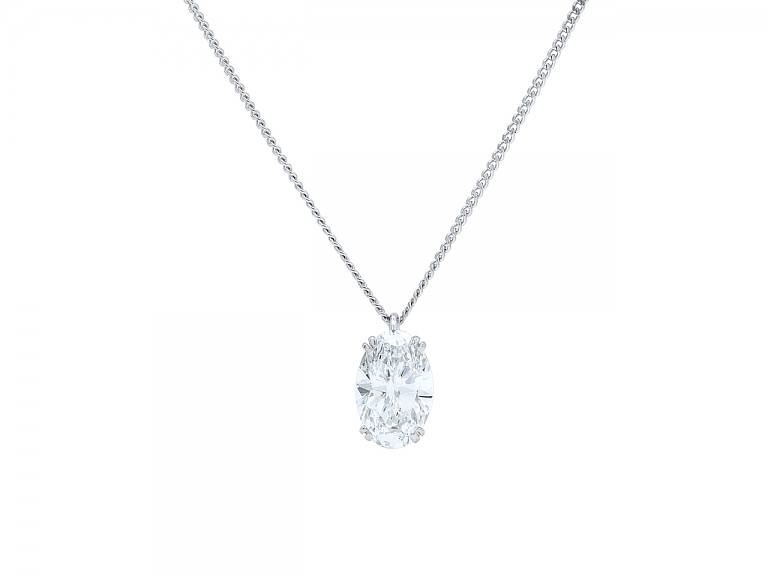 Video of Boucheron Oval Diamond Pendant, 2.79 carat F/VS-1, in Platinum