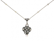 Antique Victorian Diamond Pendant in 14K and Silver