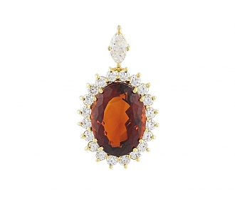 Madeira Citrine and Diamond Pendant in 18K