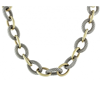 David Yurman Large Oval Link Necklace in Silver and 18K Gold