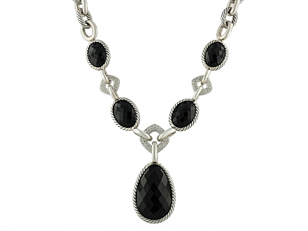 David Yurman Black Onyx and Diamond Necklace with Pendant in Silver