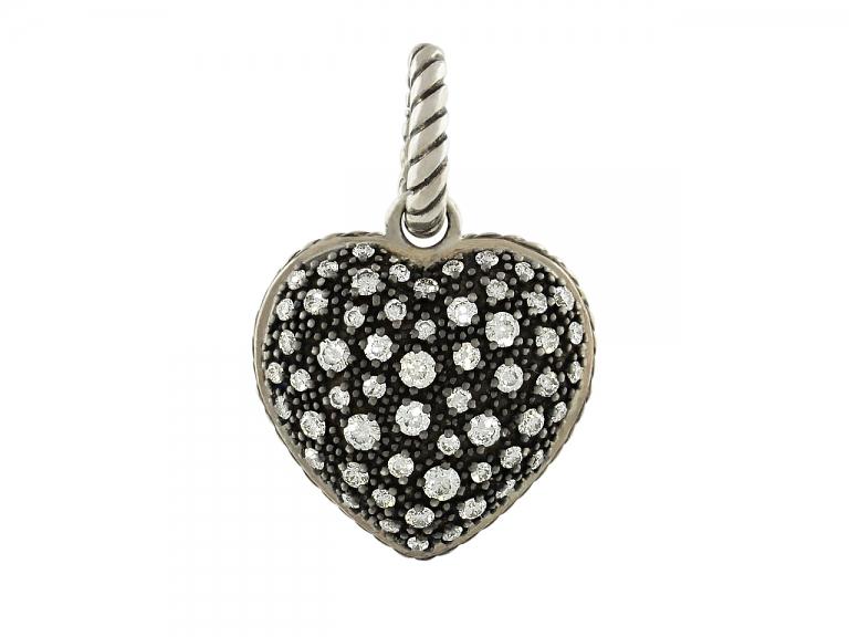 Video of David Yurman Diamond 'Starlight' Heart Pendant in Silver