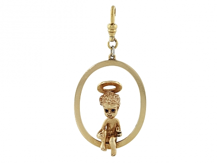 Ruser 'Sunday's Child' Angel Pendant in 14K