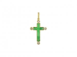 Jadeite and Diamond Cross Pendant in 18K
