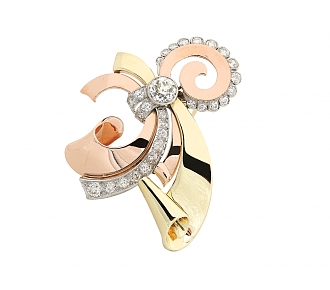 Retro Rose, Yellow and White Gold Diamond Brooch in 14K Gold