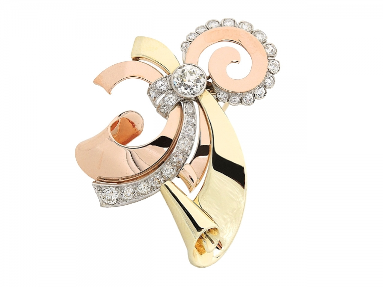 Video of Retro Rose, Yellow and White Gold Diamond Brooch in 14K Gold
