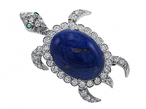 Mid-Century Lapis Turtle Brooch with Diamonds in 14K White Gold