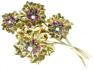 Retro Burma Ruby Flower Brooch in 18K