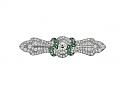 Art Deco Emerald and Diamond Brooch in Platinum