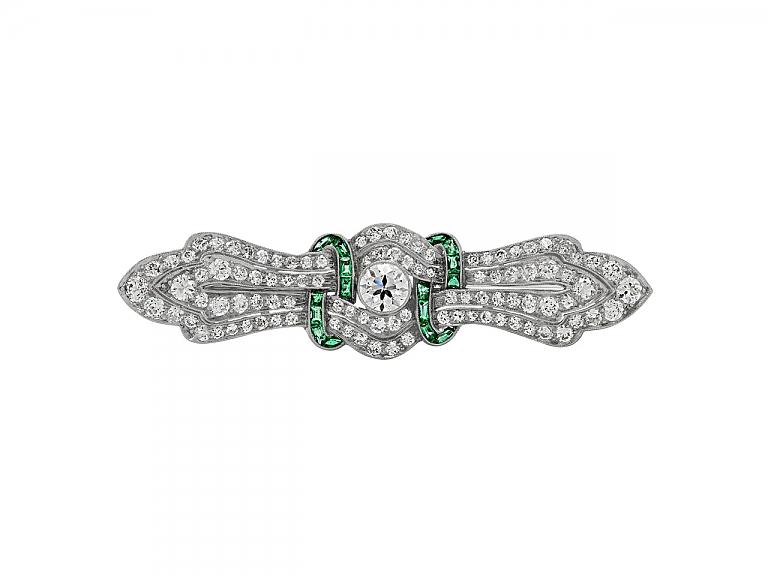 Video of Art Deco Emerald and Diamond Brooch in Platinum