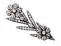 Antique Victorian Diamond Flower Brooch in Silver on Gold