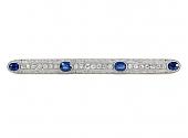 Antique Edwardian Sapphire and Diamond Bar Brooch in Platinum
