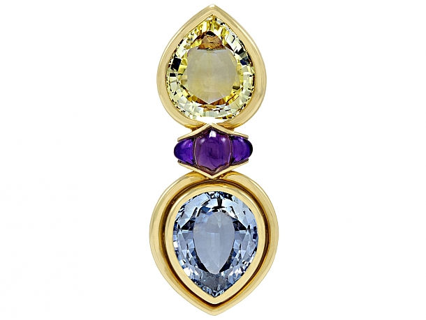 Bulgari Yellow and Blue Sapphire Brooch in 18K Gold