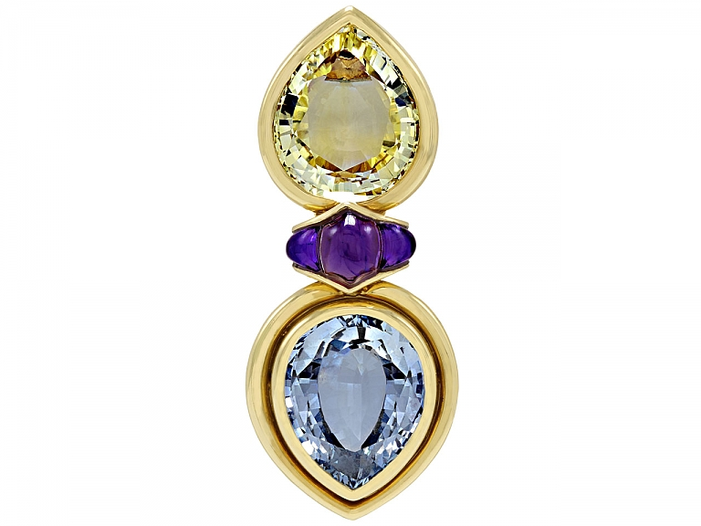 Video of Bulgari Yellow and Blue Sapphire Brooch in 18K Gold