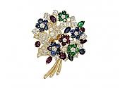 Oscar Heyman Gemstone Flower Brooch in 18K