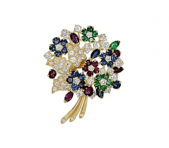Oscar Heyman Gemstone Flower Brooch in 18K