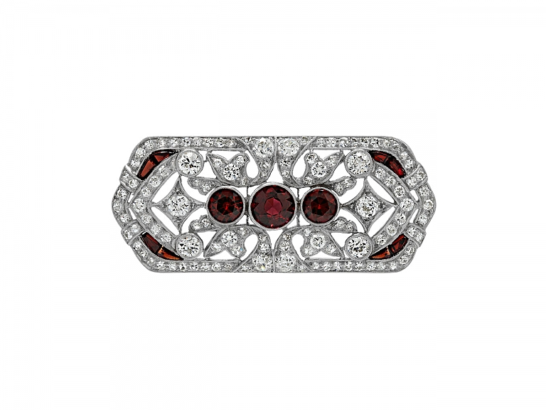 Video of Art Deco Garnet and Diamond Brooch in Platinum