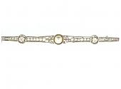 Edwardian Diamond Bar Brooch in 18K and Platinum