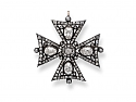 Antique Victorian Maltese Cross Diamond Brooch/Pendant