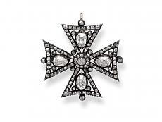 Antique Victorian Maltese Cross Diamond Brooch/Pendant