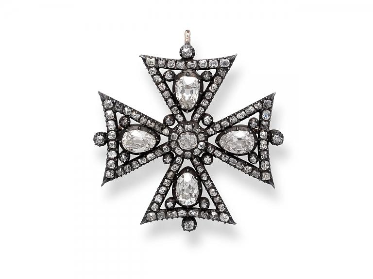 Video of Antique Victorian Maltese Cross Diamond Brooch/Pendant