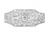Antique Edwardian Diamond Brooch in Platinum