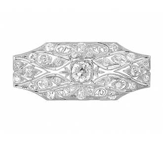 Antique Edwardian Diamond Brooch in Platinum